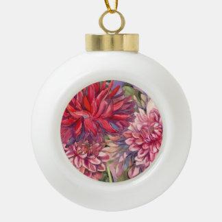 dahlias flowers ceramic ball christmas ornament