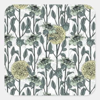 Dahlias Flowers pastel colors. Square Sticker