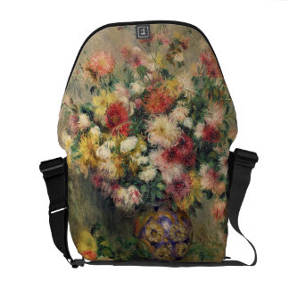 Dahlias (oil on canvas) messenger bags