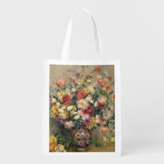 Dahlias (oil on canvas) grocery bags