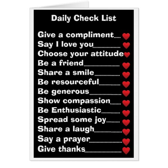 Daily Check List Card
