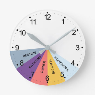 Daily Schedule Colors Round Clock