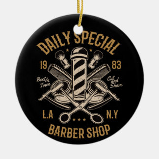 Daily Special Barber Shop LA NY Cut and Shave Christmas Ornament