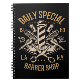 Daily Special Barber Shop LA NY Cut and Shave Spiral Notebook