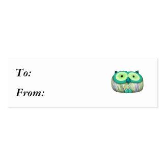 dainty aqua owl pack of skinny business cards