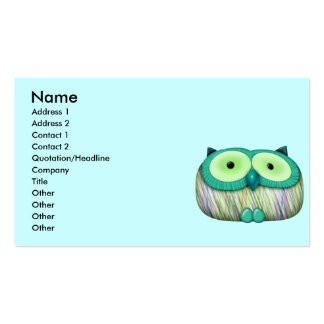 dainty aqua owl pack of standard business cards