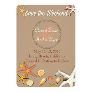Dainty Beach Theme Save the Weekend Invitation