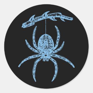 Dainty Blue Spider Round Sticker