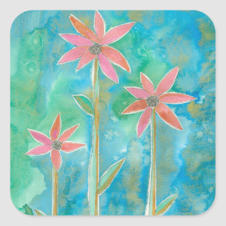 Dainty Daisies III Square Sticker