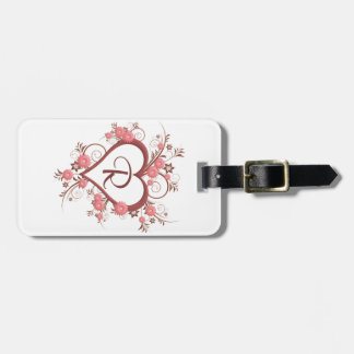 Dainty Daisy and Open Heart Monogram Luggage Tag