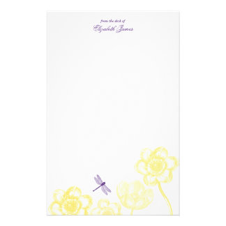 Dainty Dragonfly Stationery in yellow