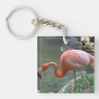 Dainty Flamingo Single-Sided Square Acrylic Key Ring