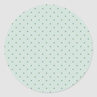 Dainty Green Polka Dots Pattern on a Lighter Green Classic Round Sticker