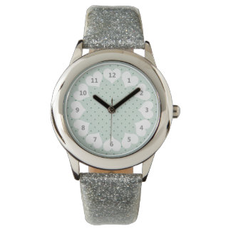 Dainty Green Polka Dots Pattern on a Lighter Green Wrist Watches