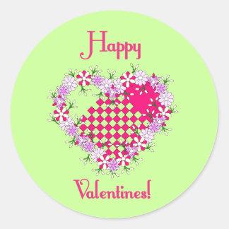 Dainty Happy Valentines! Round Sticker