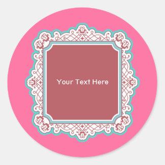 Dainty Ornament Square Frame Round Sticker