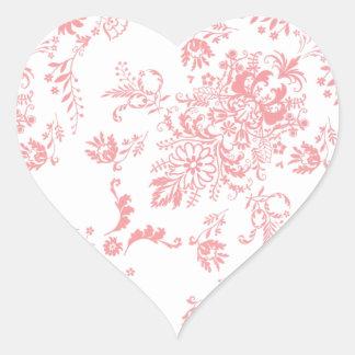 Dainty Pink Damask Design Heart Sticker
