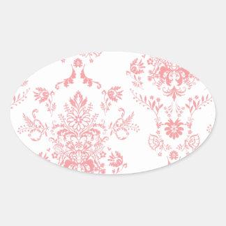 Dainty Pink Damask Design Oval Stickers