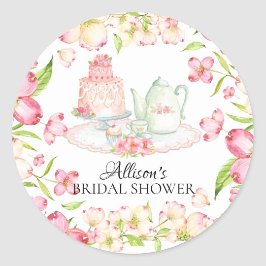 Dainty Pink Floral Bridal Tea Party Sticker