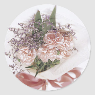 Dainty Pink Flower Bouquet Classic Round Sticker
