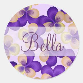 Dainty Purple Flowers Round Sticker