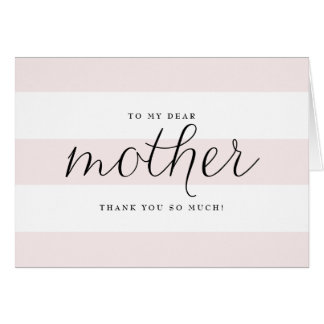 Dainty Script & Pink Stripes Mom Wedding Thank You Card