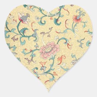 Dainty Vintage Flowers Heart Sticker