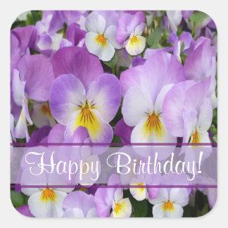 Dainty Violas ~ Birthday Sticker