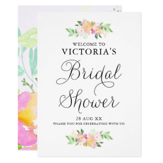 Dainty Watercolor Florals Bridal Shower Welcome Card