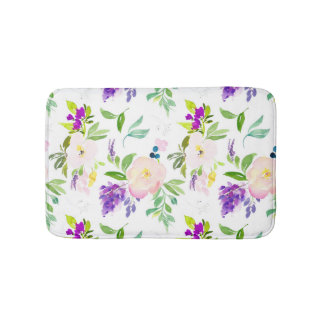 Dainty Watercolor Flowers | Peonies and Wisterias Bath Mat