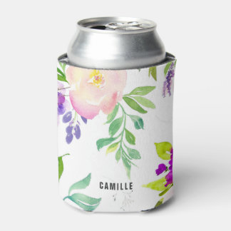 Dainty Watercolor Flowers | Peonies and Wisterias Can Cooler