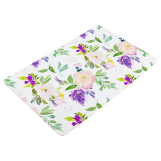 Dainty Watercolor Flowers | Peonies and Wisterias Floor Mat