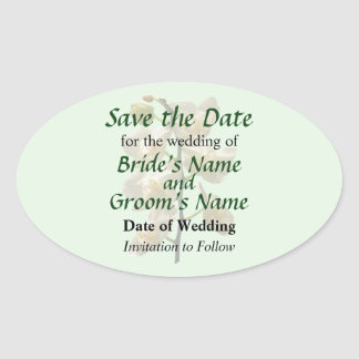 Dainty White Orchids Save the Date Oval Sticker