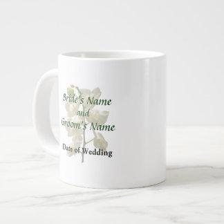 Dainty White Orchids Wedding Products Jumbo Mug