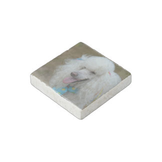 Dainty White Poodle Stone Magnet