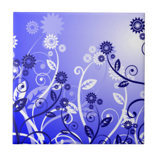 Dainty Wildflowers & Swirly Vines Purple Blue Small Square Tile