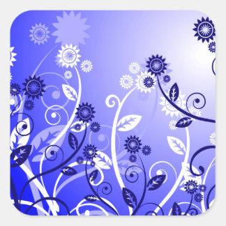 Dainty Wildflowers & Swirly Vines Purple Blue Square Sticker