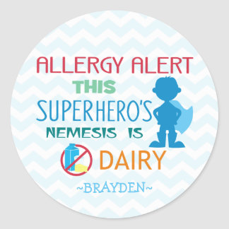 Dairy Allergy Alert Superhero Boy Blue Chevron Classic Round Sticker