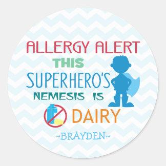 Dairy Allergy Alert Superhero Boy Blue Chevron Round Sticker