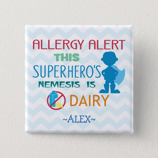 Dairy Allergy Alert Superhero Boy Button
