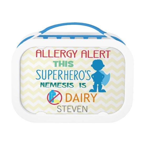 Dairy Allergy Alert Superhero Boy Silhouette Lunch Box