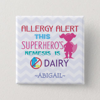 Dairy Allergy Alert Superhero Girl Pink Silhouette 15 Cm Square Badge