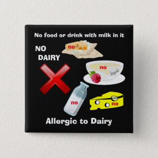 Dairy Allergy Button for food allergies