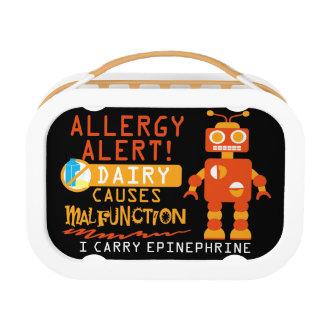 Dairy Allergy Orange Robot Lunchbox