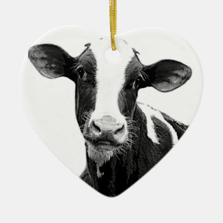 Dairy Cow - Black and White Dairy Calf Christmas Ornament