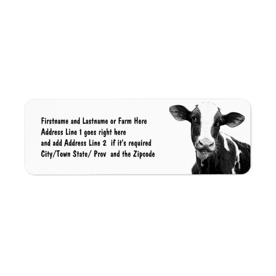 Dairy Cow - Black and White Dairy Calf Return Address Label