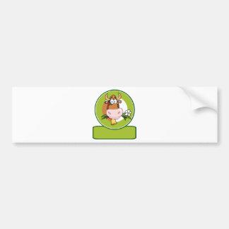 Dairy Cow Cartoon Logo Mascot Bumper Sticker