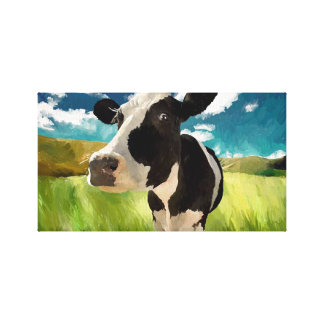 Dairy Cow Digital Painting Canvas