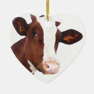 Dairy Cow -  Painted Brown & White Holstein Christmas Ornament