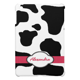 Dairy Cow Pattern with Red Monogrammed Case For The iPad Mini